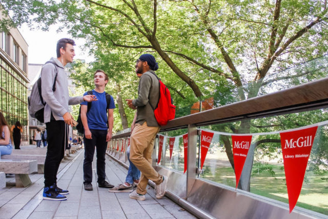 Students outside at McGill University Campus