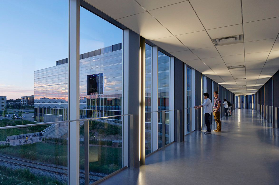 University of Waterloo wall of windows looking onto campus.